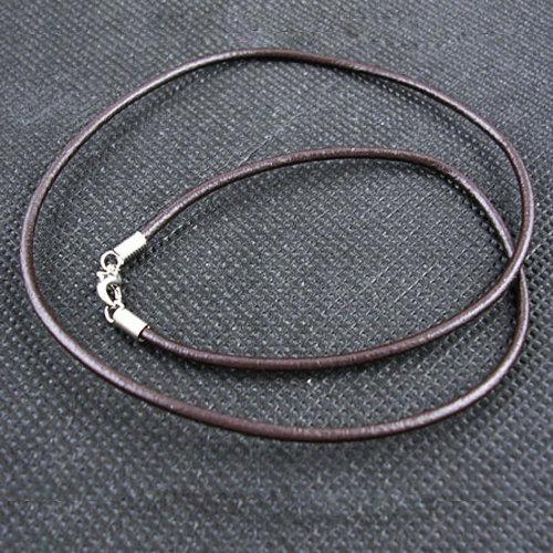 50 x echt Leder Halsbänder mit Karabinerverschluss - ca 49 x 2 mm