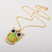 12 x Halsketten mit XL Eulenanhänger - goldfarben