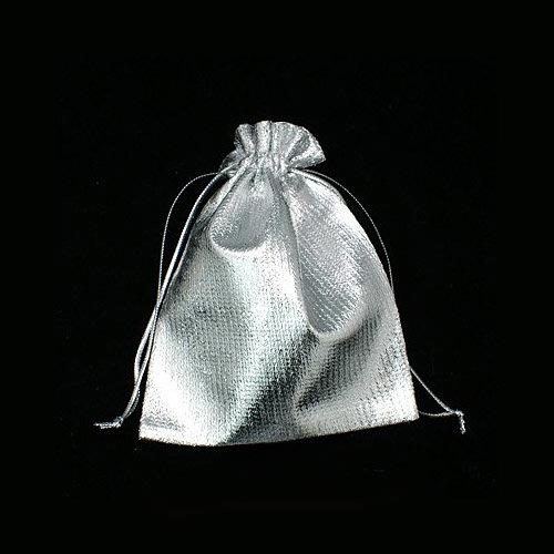100 x schöne festliche Schmuckbeutel in silber ca. 12 x 10 cm