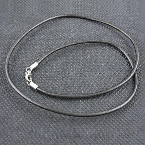 50 x echt Leder Halsbänder mit Karabinerverschluss - Schwarz - 57 cm lang