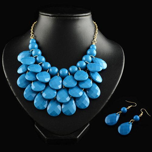 4 x 3 teilige moderne Halskette und Ohrring Schmuckset - Blau