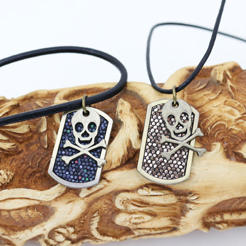 """5 x 2er Sets """"Totenkopf Halsketten"""" mit echt Leder Halsbänder"""