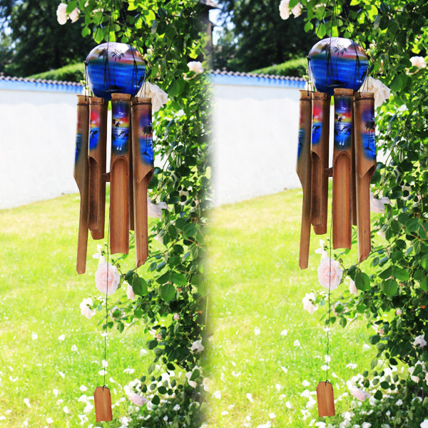 6 x KLANGSPIEL - WINDKLANGSPIEL - BAMBUS - ca. 55 cm - Handgefertigt und bemalt