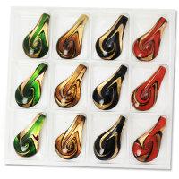 12 x traumhafte Glas Anhänger im Murano Stil mit Goldsand ca. 65 x 34 x 13 mm