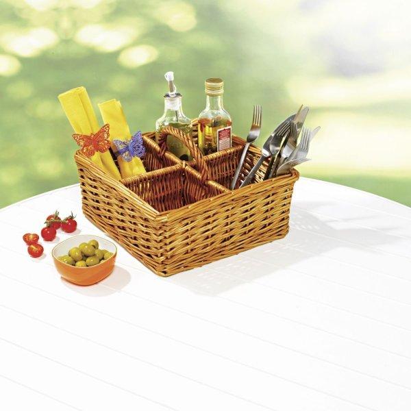 Tischkörbchen mit vier Fächer Weidenkorb Besteckkorb