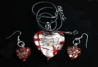 12 x Ketten und Ohrringe-Set aus Glas - 6 Farben sortiert...